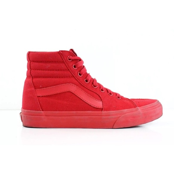 65dcd315ad8 Vans Sk8 Hi All Red Canvas Shoe Mens 7 Women s 8.5.  M 5b181dd1409c15daa8760a9b